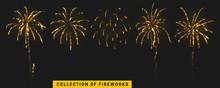 Golden Light Effect. Set Festive Gold Fireworks Isolated On Black Background.