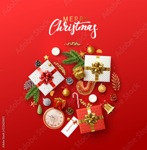 Fotografie, Obraz  Christmas greeting card with holiday objects