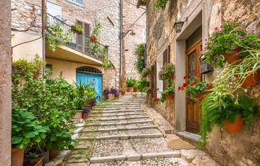 Malownicza droga w Trevi, starożytnej wiosce w regionie Umbria we Włoszech.