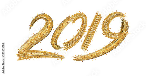 Fotografia  New Year 2019 sign with golden brush strokes on white background.