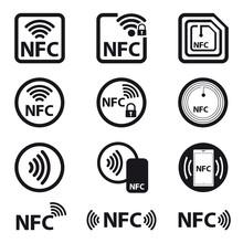 NFC Technology - Icon Set - Vector Illustration - Isolated On White Background