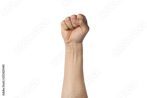 Fotografiet  Male hand clenched into a fist and raised up on a white background