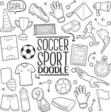 Soccer Football Team Sport Doodle Icon Hand Draw Line Art
