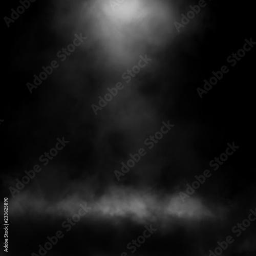 Fototapety, obrazy: White fog and mist effect on black stage studio showcase room background.