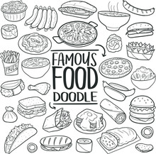 Famous Food International Recipes Animals Traditional Doodle Icons Sketch Hand Made Design Vector
