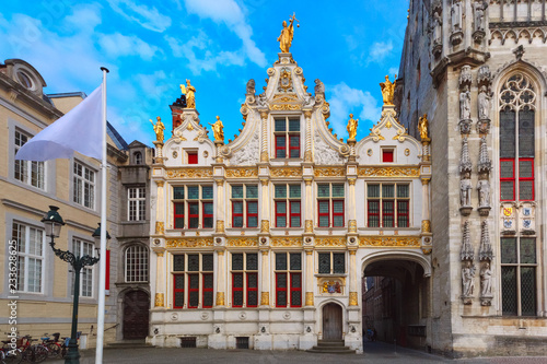 Wall Murals Bridges Scenic cityscape with the picturesque medieval Burg Square in Bruges, Belgium