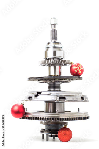 Fotografia  Abstract christmas tree of car parts on a white background