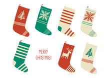 Holiday Merry Christmas Card. Christmas Stocking. Holiday Socks Set. Cartoon New Year Vector Eps 10 Illustration Isolated On White Background In A Flat Style.