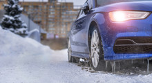 Starting Engine And Warming Up The Icy Car In Severe Frosts In Winter