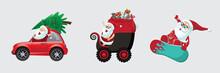Christmas Cartoon Santa Claus In Different Modes Of Transportation. Eps10 Vector Illustration.