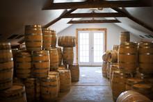 Barrels In Whiskey Factory