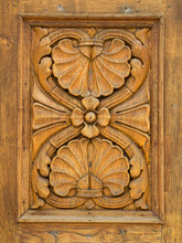 Wood Panel Hand Carved With Fl...
