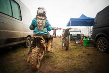 Rear View Of Boy Riding Motorc...