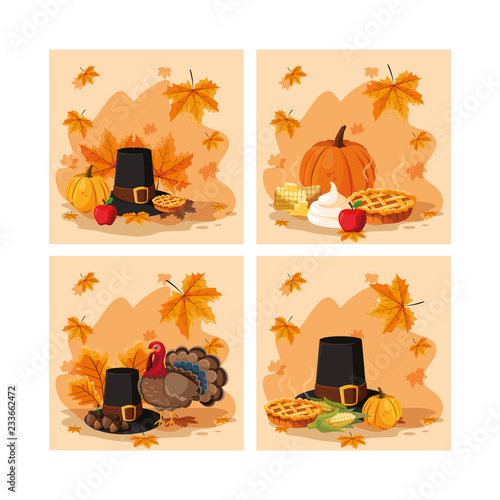 Cuadros en Lienzo  pilgrim hat of thanksgiving day with set icons