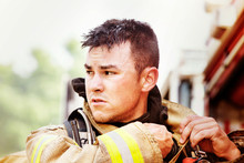 Close-up Of Firefighter Looking Away