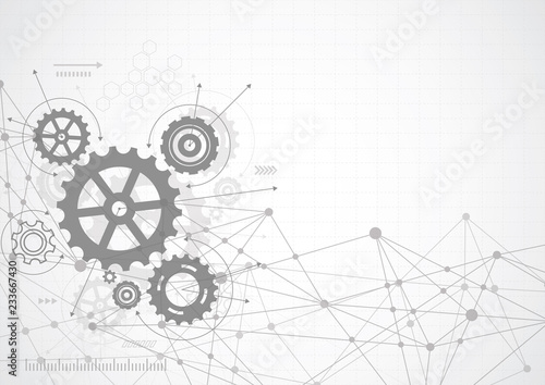 Fototapeta Abstract gear wheel mechanism background. Machine technology. Vector illustration obraz