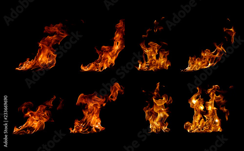 Collection fire flames on black background Poster Mural XXL