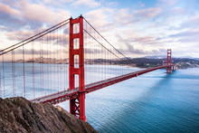 Panoramic View Of Golden Gate Bridge Connecting San Francisco And Marin Headlands, At Sunset