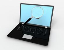 3d Laptop With Lens . 3d Rendered Ullustration