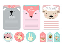 Pastel Printable With Bear,sheep, Fox, Koala, Tiger, Rabbit In Funny Style.with Wording Smile,happy,party