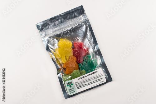 Fotomural  Medical Cannabis Gummies in Colorful Packaging