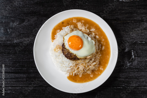 Loco Moco. Traditional Hawaiian cuisine. The view from the top.
