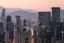 Sunset Hong Kong Business District Skyline Around Wanchai From Above Happy Valley In Hong Kong Island