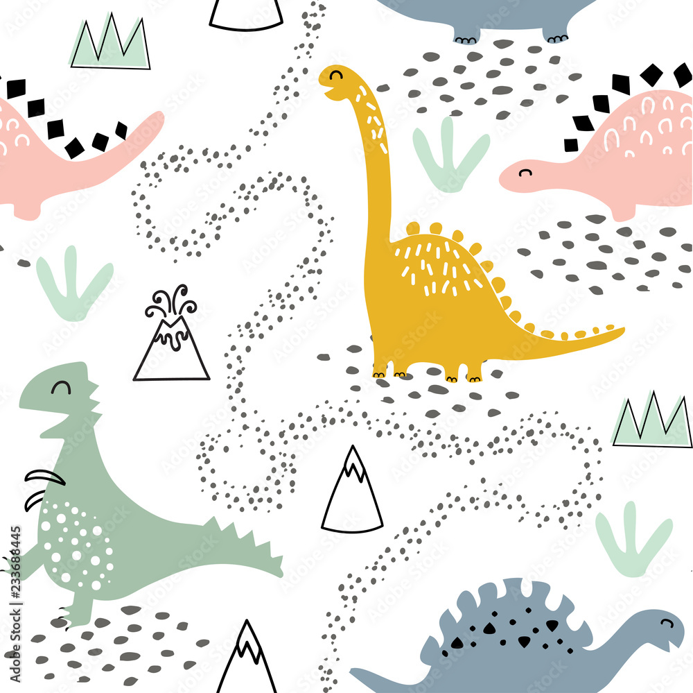 Childish seamless pattern with dinosaurs, volcano, mountains and tropical plants. Hand drawn kids texture in scandinavian style for fabric, textile, nursery decoration, apparel, wallpaper, wrapping