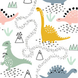 Fototapeta Dinusie - Childish seamless pattern with dinosaurs, volcano, mountains and tropical plants. Hand drawn kids texture in scandinavian style for fabric, textile, nursery decoration, apparel, wallpaper, wrapping