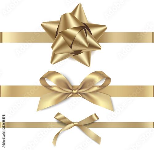 Obraz Set of decorative golden bows with horizontal gold ribbon isolated on white background. Vector illustration. Holiday decorations - fototapety do salonu