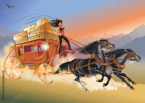 Valokuvatapetti illustration of stagecoach drawn by two horses