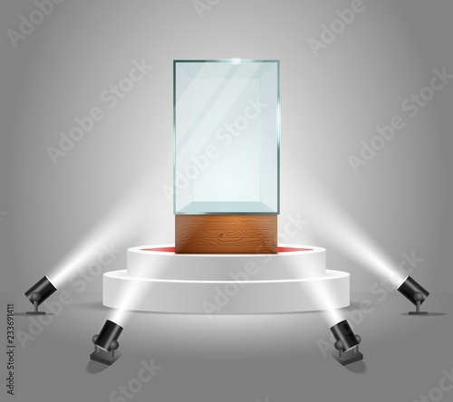 Fotografia Vector illuminated podium with empty glass showcase