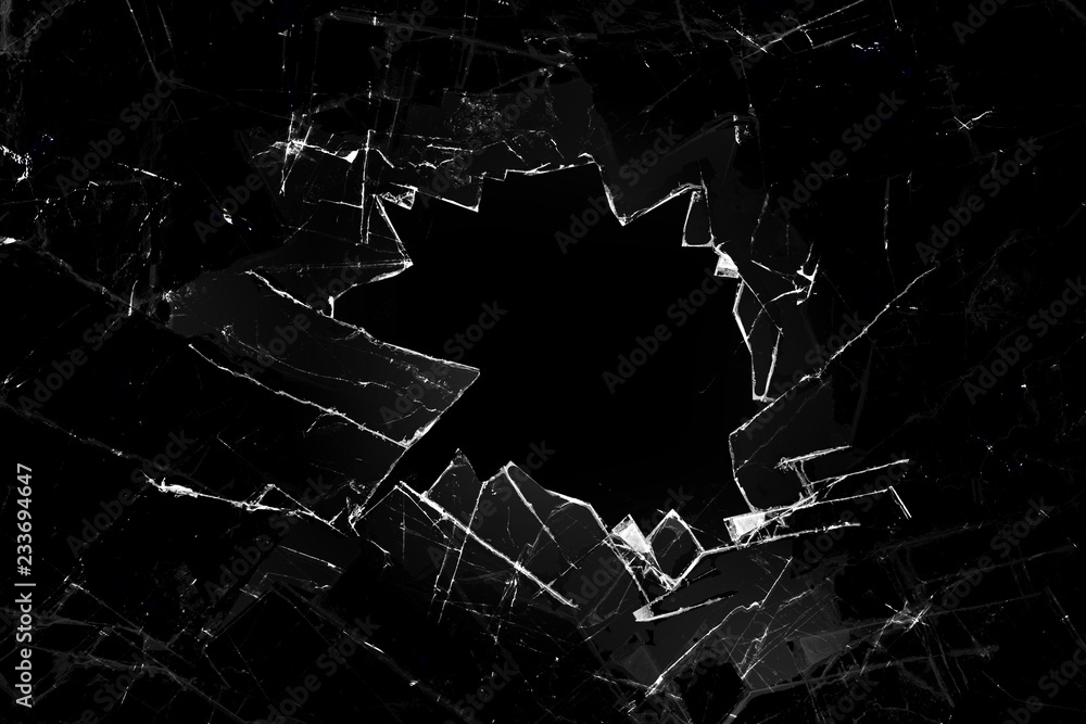 Fototapeta broken glass on a black background