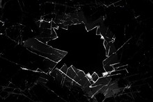 Broken Glass On A Black Backgr...