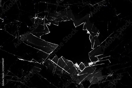 broken glass on a black background Fototapete