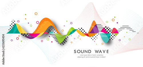 Foto auf Gartenposter Abstrakte Welle Abstract bright wave isolated on white background. Vector illustration for curl motion design.Cool curl wave header element. Modern bright colors.