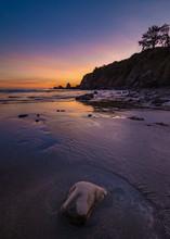 A Rocky Beach Landscape At Sunset, Brookings, Oregon
