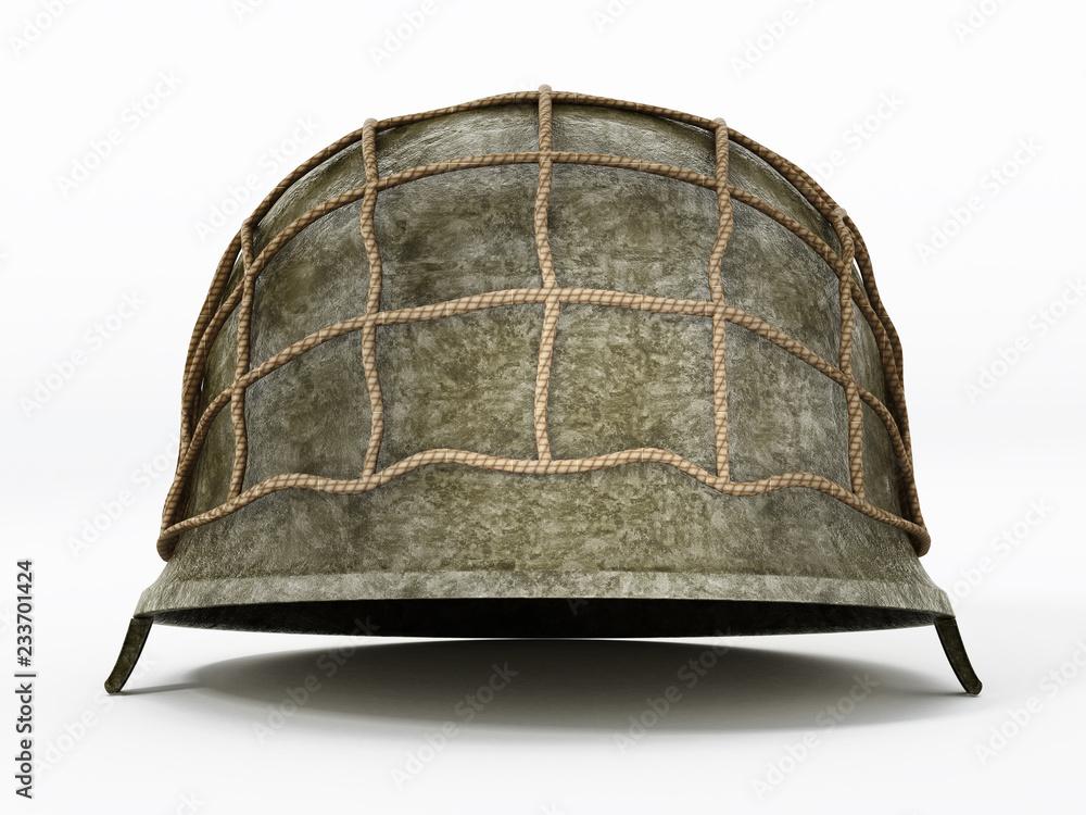 Fototapeta World War II helmet isolated on white background. 3D illustration