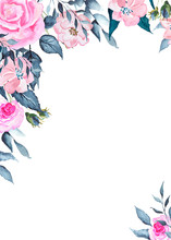 Watercolor Indigo Swan Collection With Gold Elements, White Indigo Silhouettes, Flowers, Leaves, Twigs, Wreaths, Frames, Borders, Seamless Patterns, Ready-made Cards, Bouquets For Weddings, Invitation