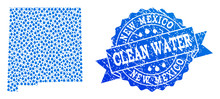 Map Of New Mexico State Vector Mosaic And Clean Water Grunge Stamp. Map Of New Mexico State Designed With Blue Aqua Drops. Seal With Retro Rubber Texture For Clean Drinking Water.