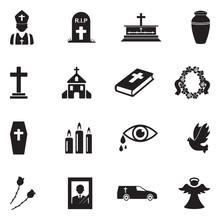 Funeral Icons. Black Flat Design. Vector Illustration.