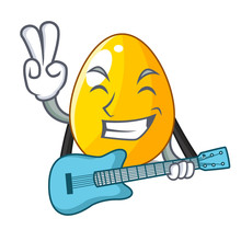 With Guitar Simple Gold Egg On Design Character
