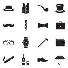 Gentleman Icons. Black Flat Design. Vector Illustration.