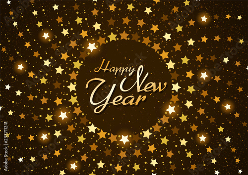 Valokuva  Happy New Year Background with Stars in Circular Spiral - Greeting Card with Han