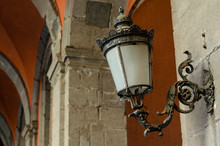 Antique Wall Lamp At Royal Palace In Naples, Italy. Copy Space