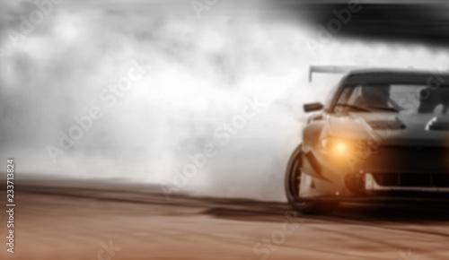 Fotografija Car drifting, Sport car wheel drifting and smoking on blurred background