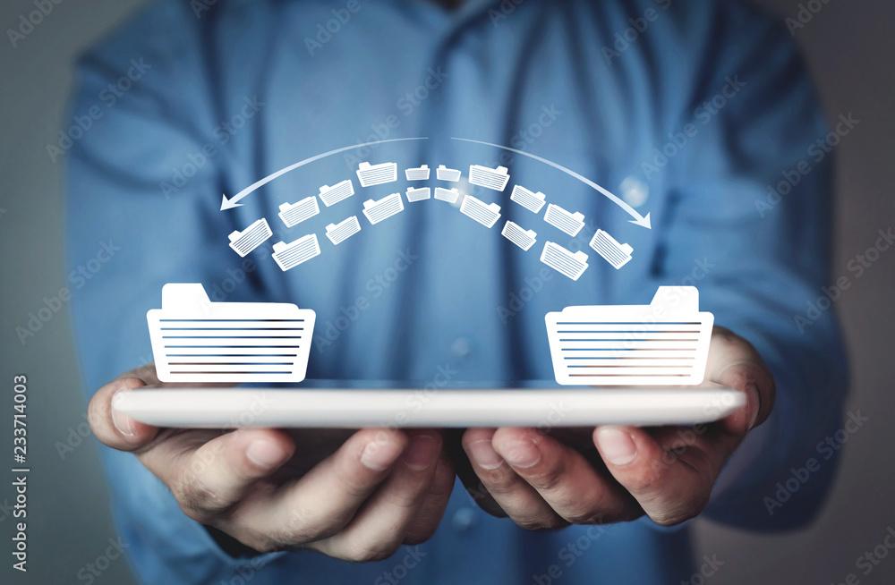 Fototapeta Copy files, data exchange. Files transfer. Fast file transfer management