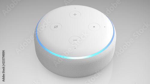 3D Illustration of Amazon Echo Dot 2nd generation, white on light backround Wallpaper Mural