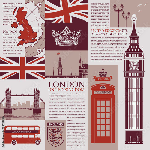 Obraz na plátně Vector seamless background on the theme of the UK and London with newspaper publications, architectural landmarks, British symbols and flag in retro style