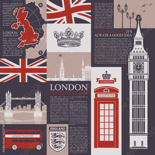 Vector Seamless Background On The Theme Of The Uk And London